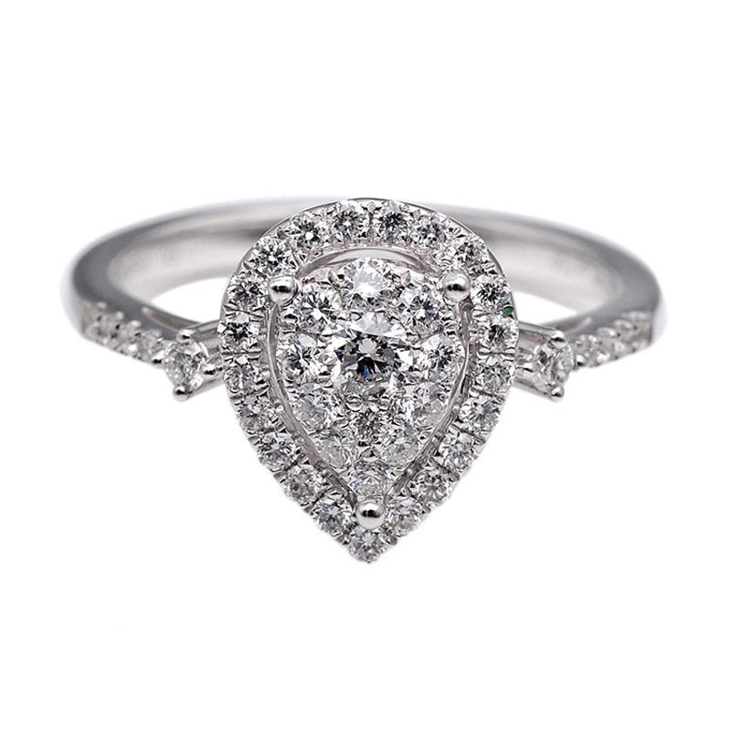 Tiaria DHTXHJZ031 Perhiasan Cincin Emas Putih dan Berlian White Gold [18K]