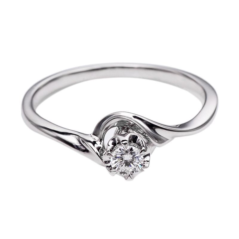 Tiaria DHTXHJZ023 Perhiasan Cincin Emas Putih dan Berlian White Gold [18K]