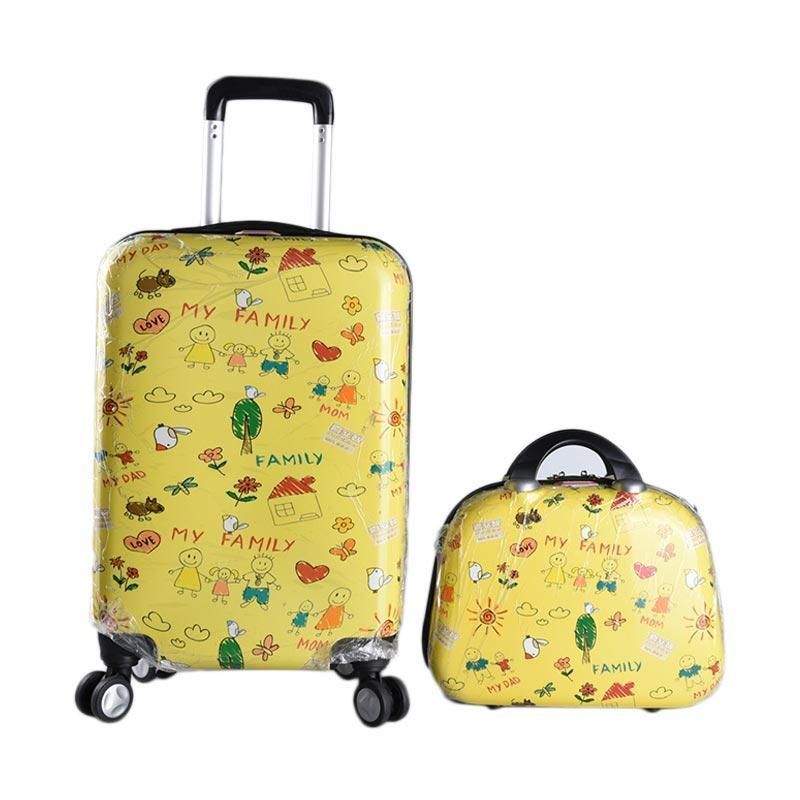 harga Polo Line 7008 Trolley Bag Tas Koper [20 Inch] + Beauty Case Motif - Kuning Blibli.com