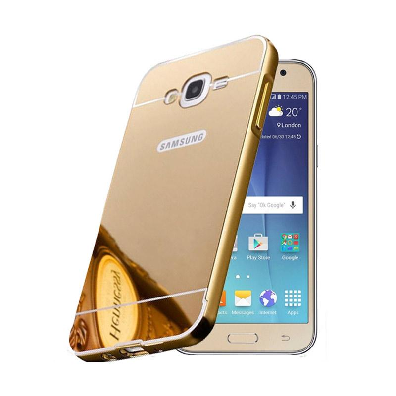 Bumper Case Mirror Sliding Casing for Samsung Galaxy ON 7 - Gold