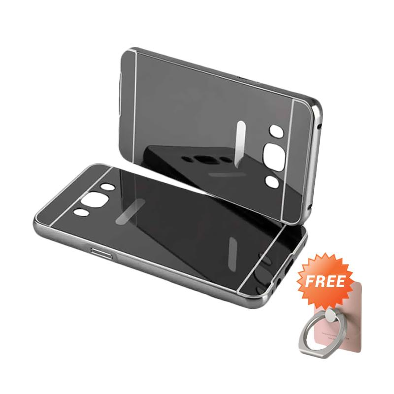 harga Elshadai Bumper Mirror Casing for Samsung Galaxy J5 2016 - Black + Free Stand Ring