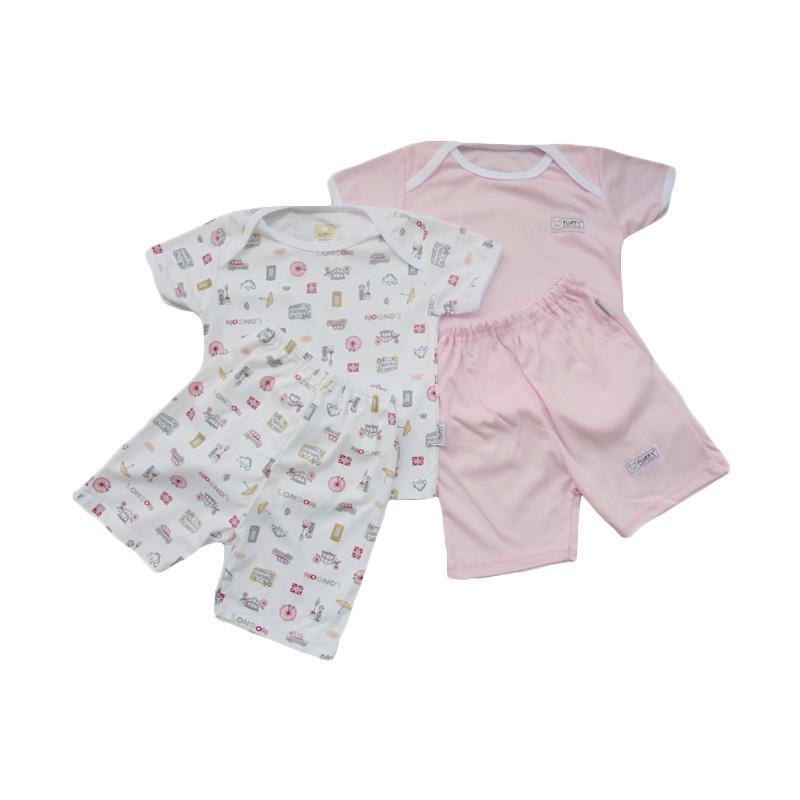 Fluffy Oblong Pendek Polos dan Motif London Setelan Baju Anak - Pink