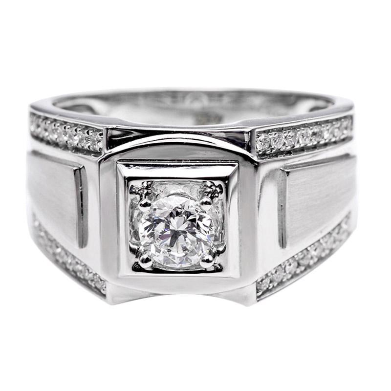 Tiaria DHTXHJZ014 Perhiasan Cincin Emas Putih dan Berlian White Gold [18K]
