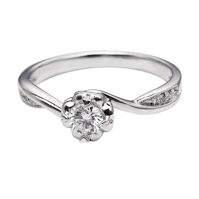 Tiaria DHTXHJZ045 Perhiasan Cincin Emas Putih dan Berlian - White Gold [18K]