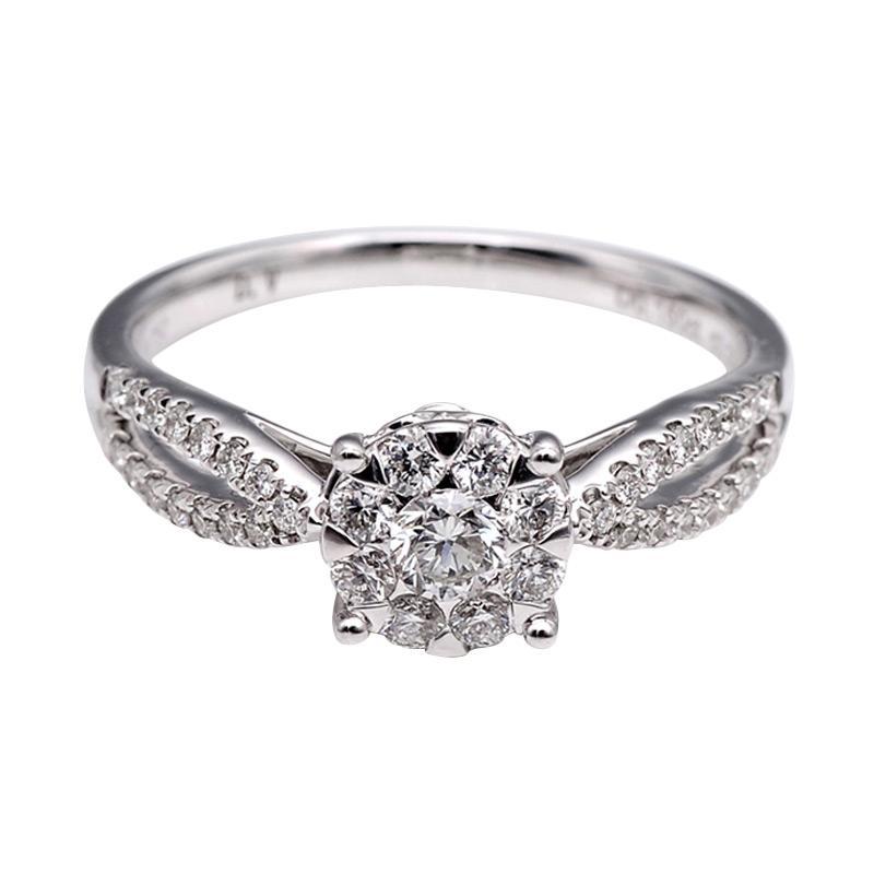Tiaria DHTXHJZ053 Perhiasan Cincin Emas Putih dan Berlian White Gold [18K]