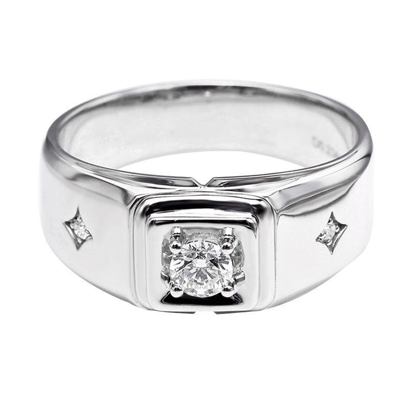 Tiaria DHTXHJZ063 Perhiasan Cincin Emas Putih dan Berlian White Gold [18K]