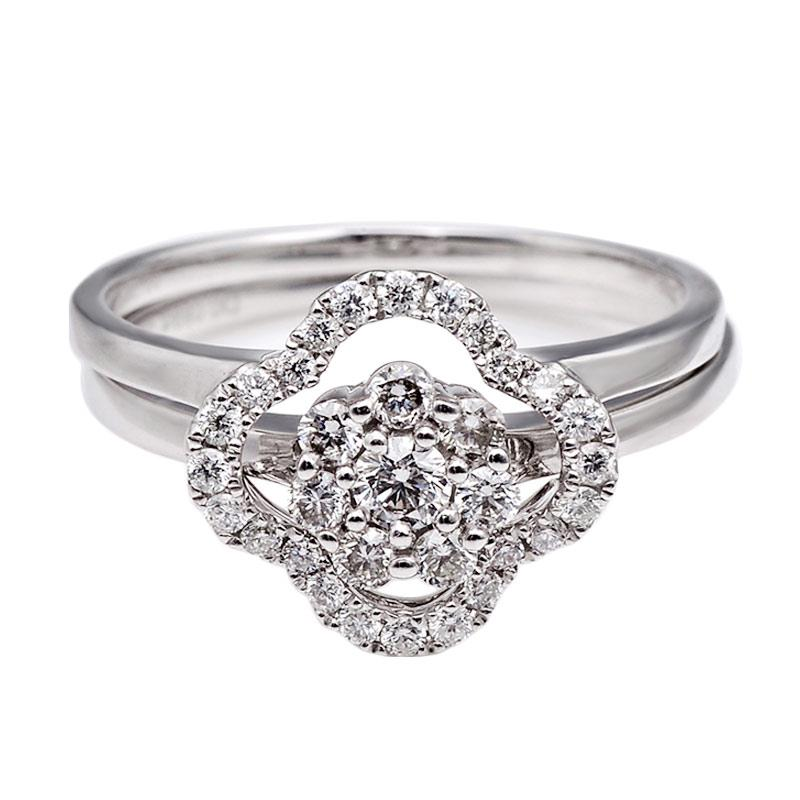 Tiaria DHTXHJZ071 Perhiasan Cincin Emas Putih dan Berlian White Gold [18K]