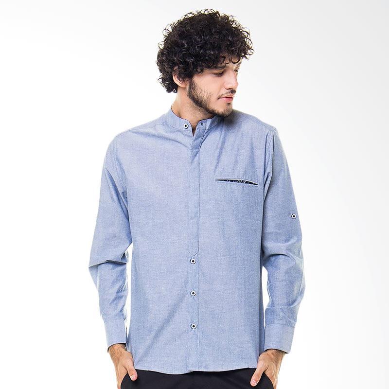 17Seven Original Longshirt Comment Kemeja Pria - Light Blue