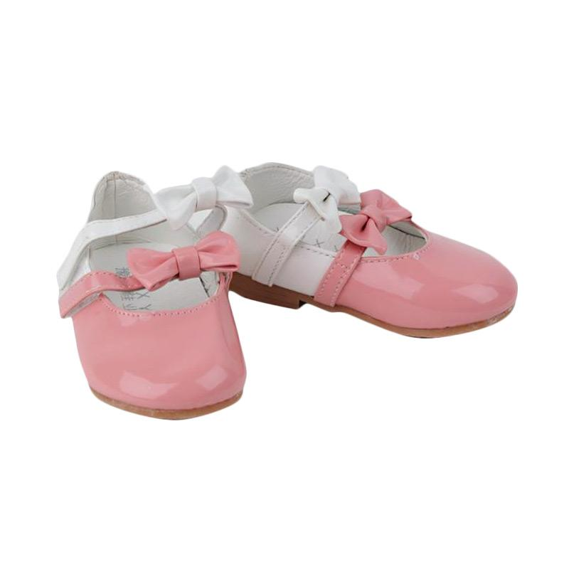 Chloebaby Shop Balerina 2 Ribbon Glossy S59 Sepatu Anak - Orange
