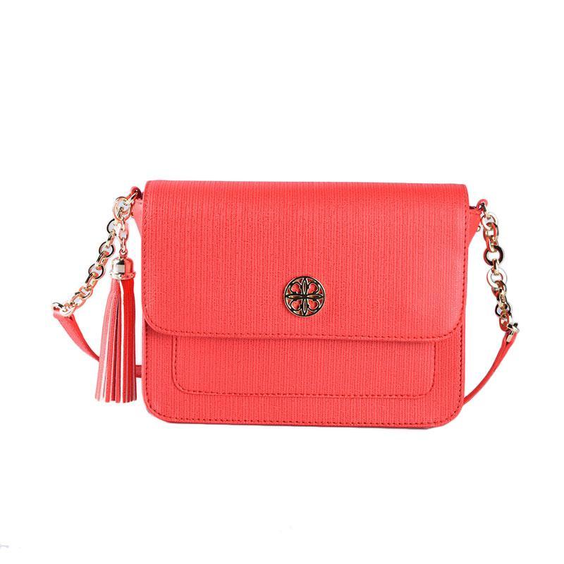 Les Catino Odetta Flap Crossbody Sling Bags Wanita - Red Grenadine