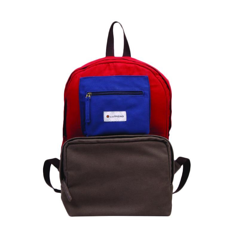 Luiperd BBP.56 Day Backpack Three Color Tas Ransel - Dark Grey, Red & Blue