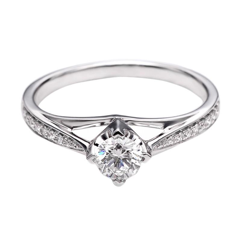 Tiaria DHTXHJZ072 Perhiasan Emas Putih dan Berlian White Gold Cincin [18K]