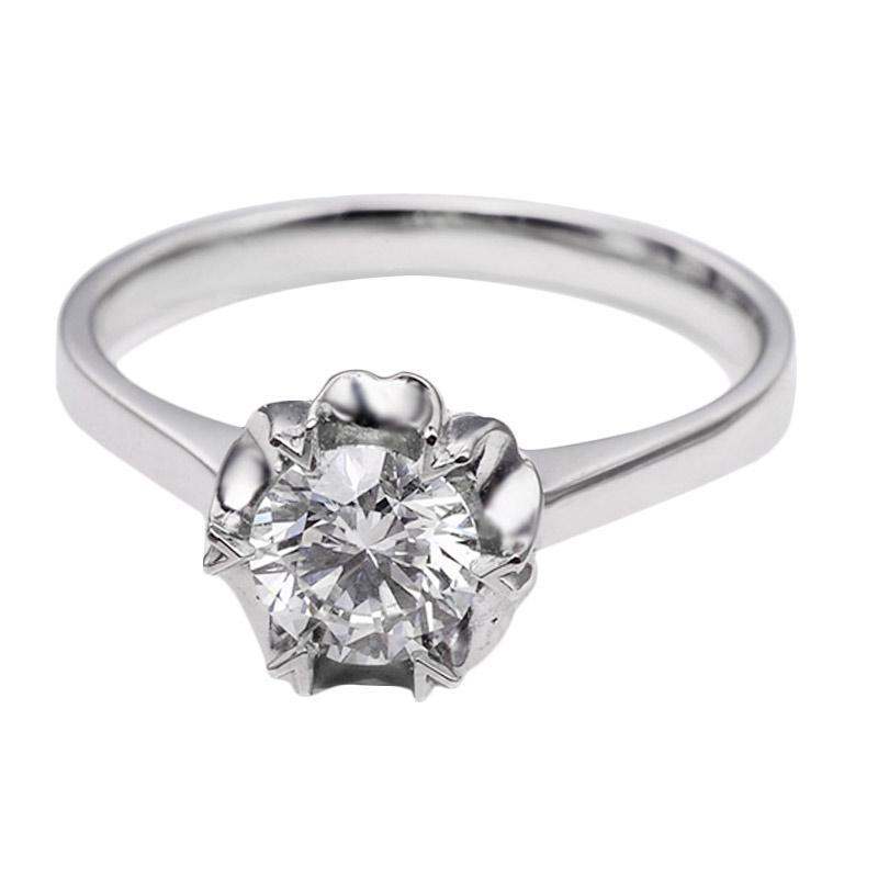 Tiaria DHTXHJZ017 Perhiasan Cincin Emas Putih dan Berlian White Gold [18K]
