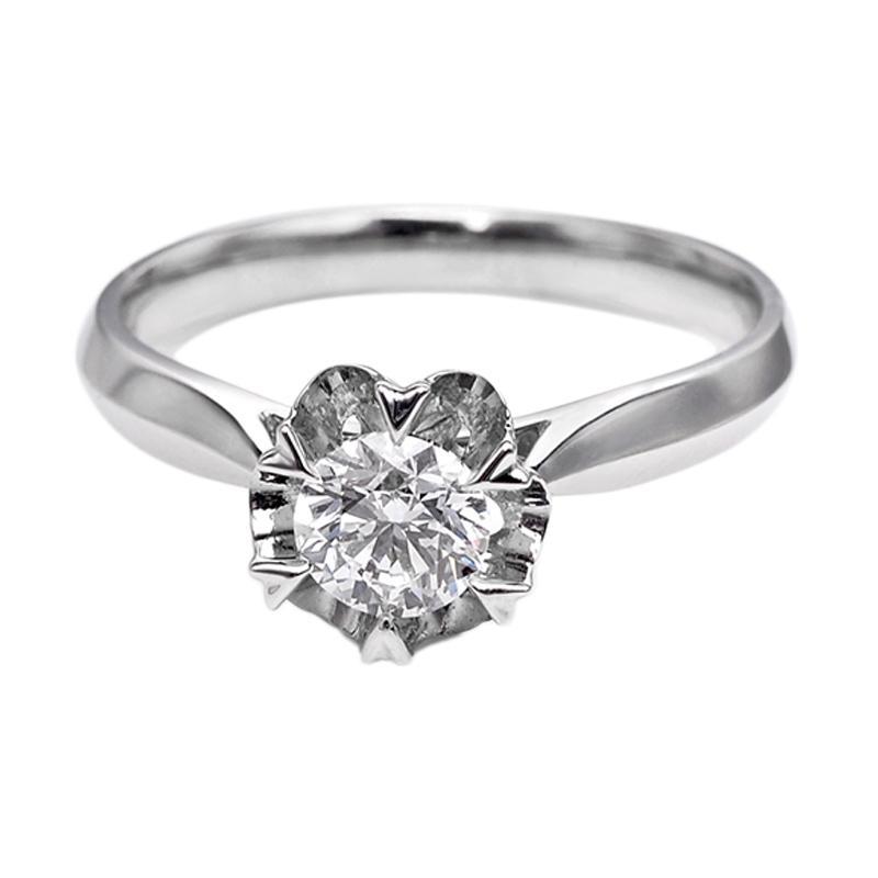 Tiaria DHTXHJZ028 Perhiasan Cincin Emas Putih dan Berlian White Gold [18K]