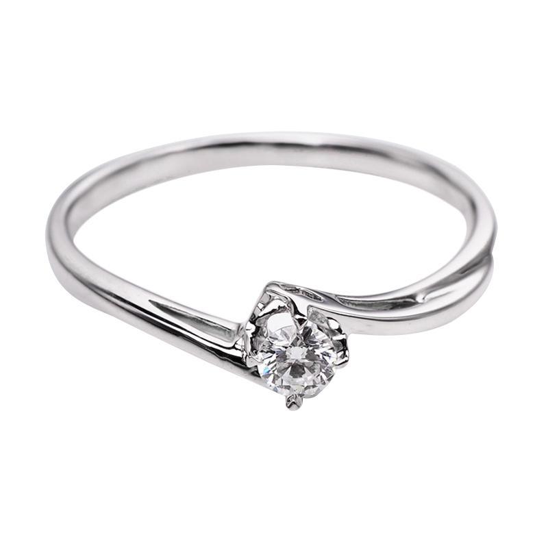 Tiaria DHTXHJZ057 Perhiasan Cincin Emas Putih dan Berlian White Gold [18K]