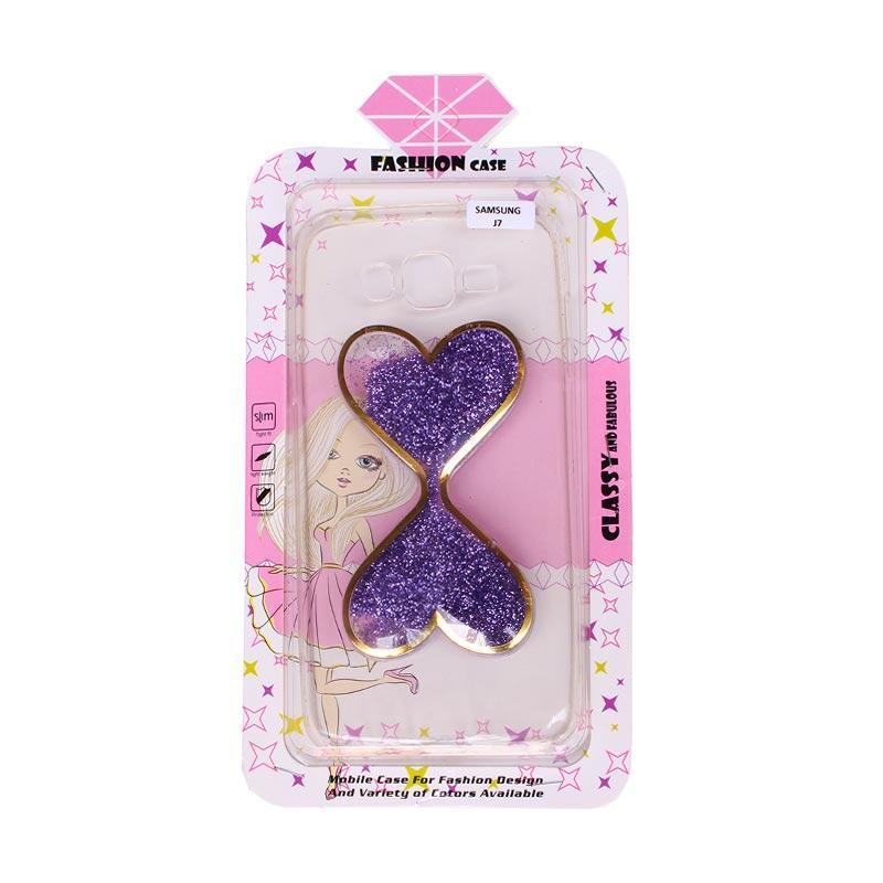 Fashion Case Water Glitter 2 Love Casing for Samsung J7 - Purple