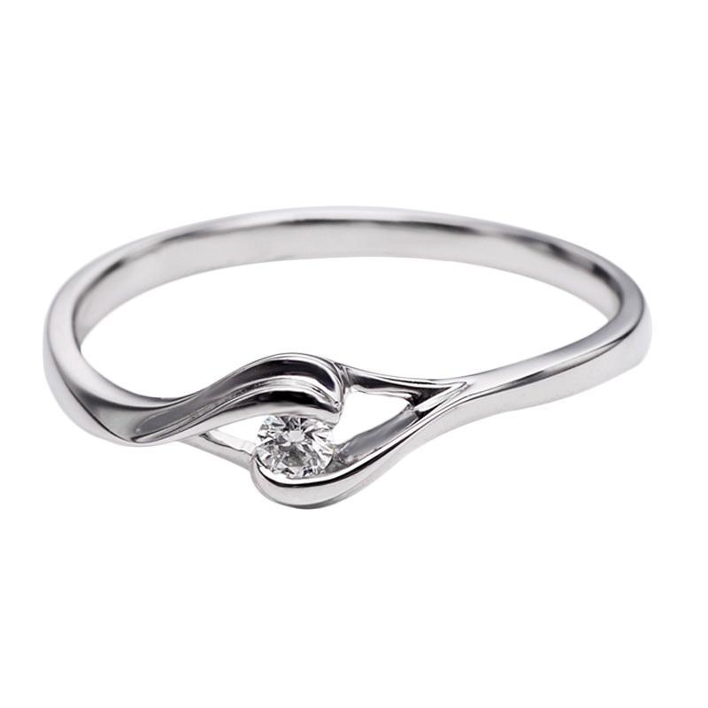 Tiaria DHTXHJZ018 Perhiasan Cincin Emas Putih dan Berlian White Gold [18K]