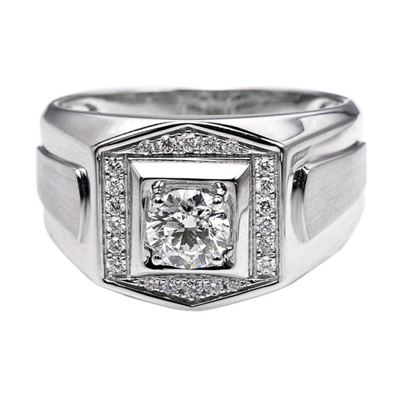 Tiaria DHTXHJZ029 Perhiasan Cincin Emas Putih dan Berlian White Gold [18K]