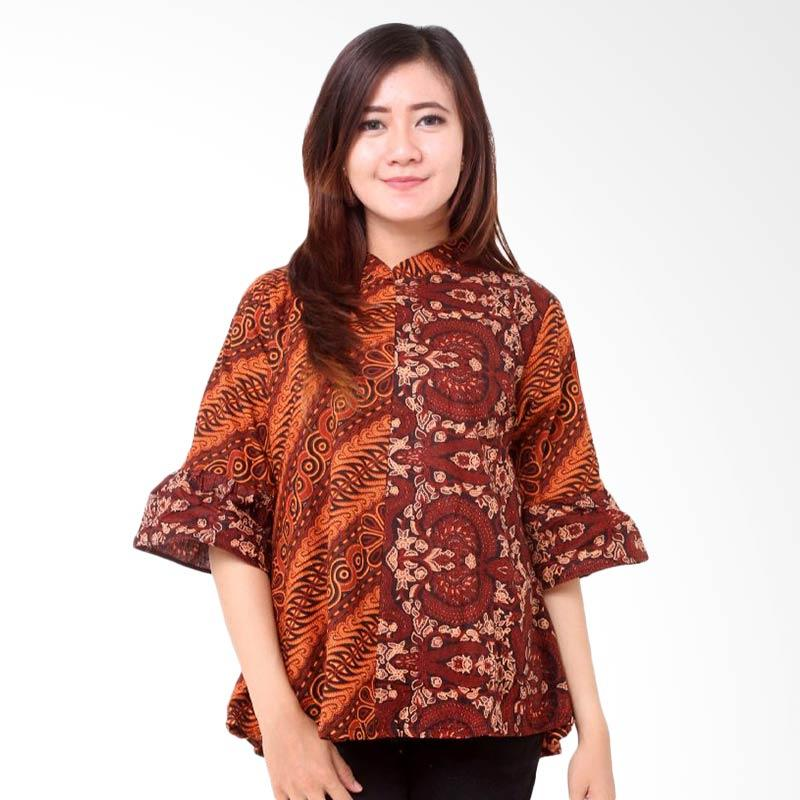 harga Batik Distro BA8099 Blus Shanghai Kombinasi Atasan Wanita - Coklat Blibli.com