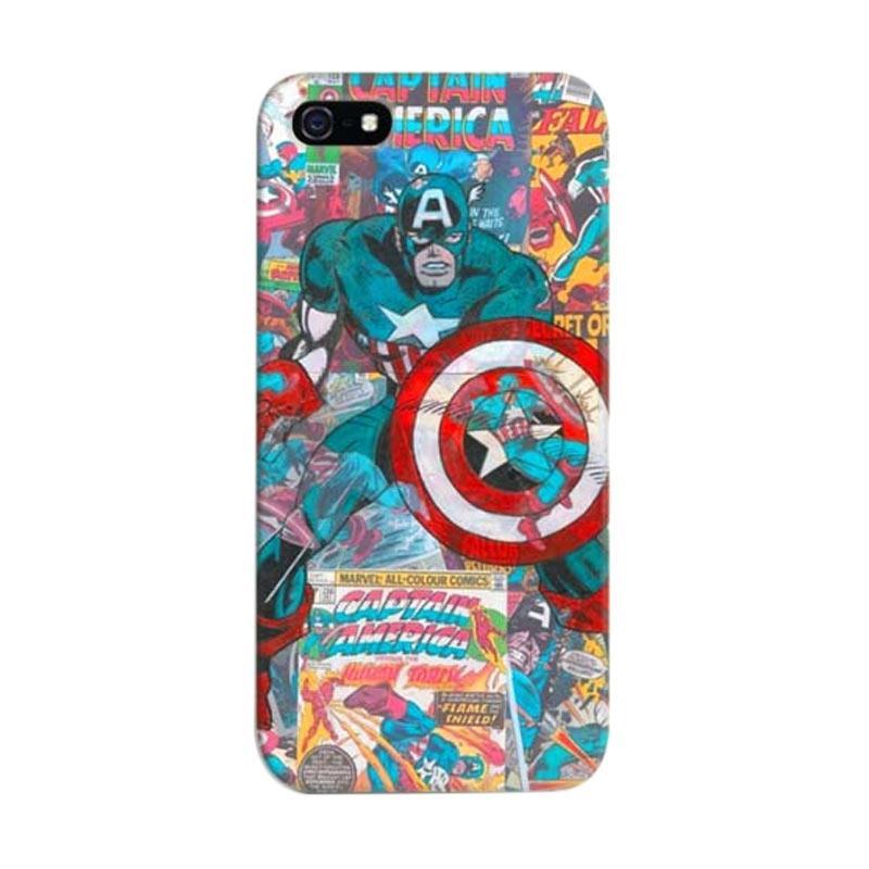 Indocustomcase Captain America Comic Custom Hardcase Casing for Apple iPhone 5/5S/SE