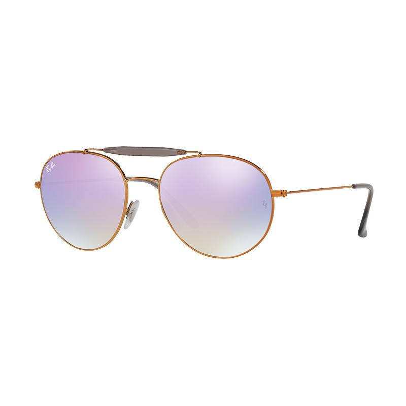 Ray-Ban 198-7X Lilac Flash Gradient RB3540 Sunglasses - Shiny Bronze [Size 56]