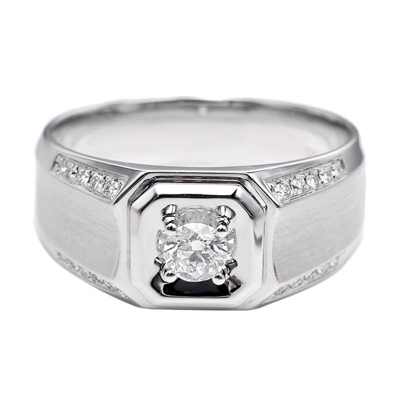 Tiaria DHTXHJZ076 Perhiasan Emas Putih dan Berlian White Gold Cincin [18K]