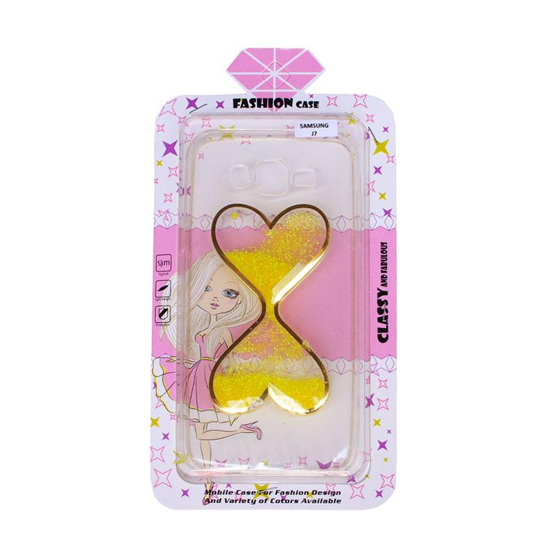 Fashion Case Water Glitter 2 Love Casing for Samsung J7 - Yellow