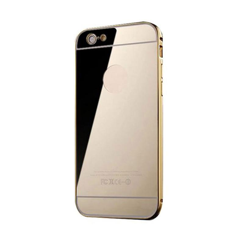 Mirror Luxury Metal Frame Bumper Hard Back Cover Casing for Apple iPhone 6/6S - Gold