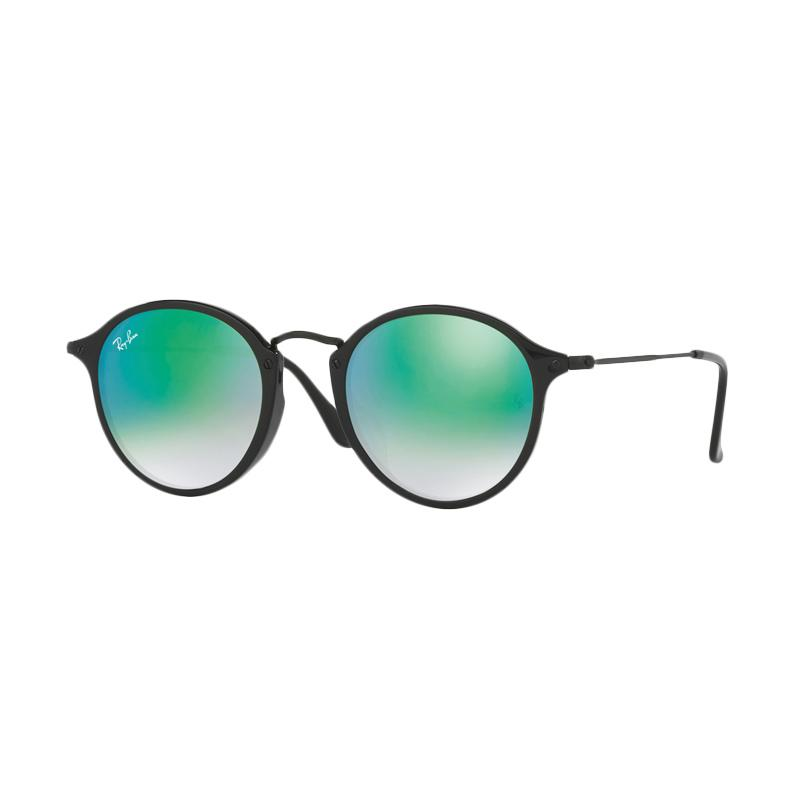 Ray-Ban RB2447F-901-4J Sunglasses - Shiny Black Mirror Gradient Green [Size 49]