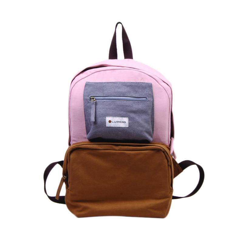 Luiperd BBP.56 Day Backpack Three Color Tas Ransel - Nude, Baby Pink & Grey