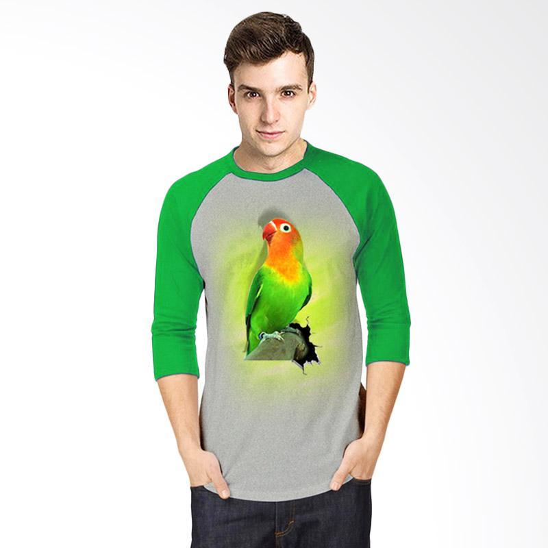 harga T-Shirt Glory 3D Burung Love Bird Fold Raglan Pria - Abu Hijau Blibli.com