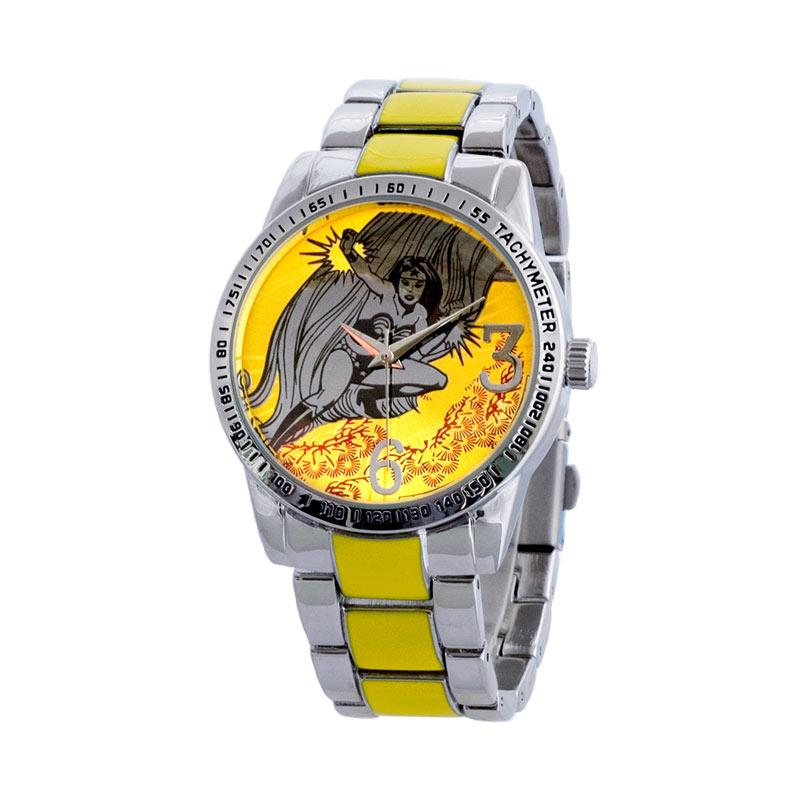 DC Comics DCFR1108-01D Superheroes Wonder Woman Jam Tangan Unisex - Silver Yellow