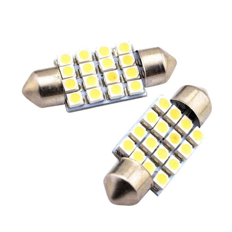 JMS Festoon 16 SMD 1210 36 Mm Lampu LED Mobil For Kabin Or Plafon - White [1 Pair/2 Pcs]