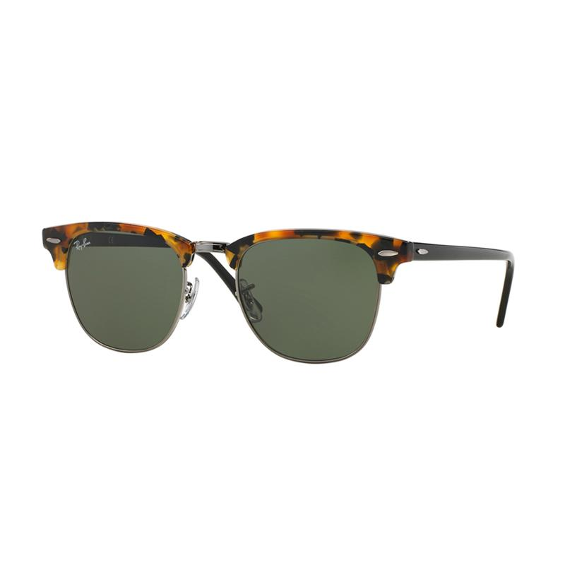 Ray-Ban Sunglasses Clubmaster RB3016 - Spotted Black Havana [1157/Size 51/Green]