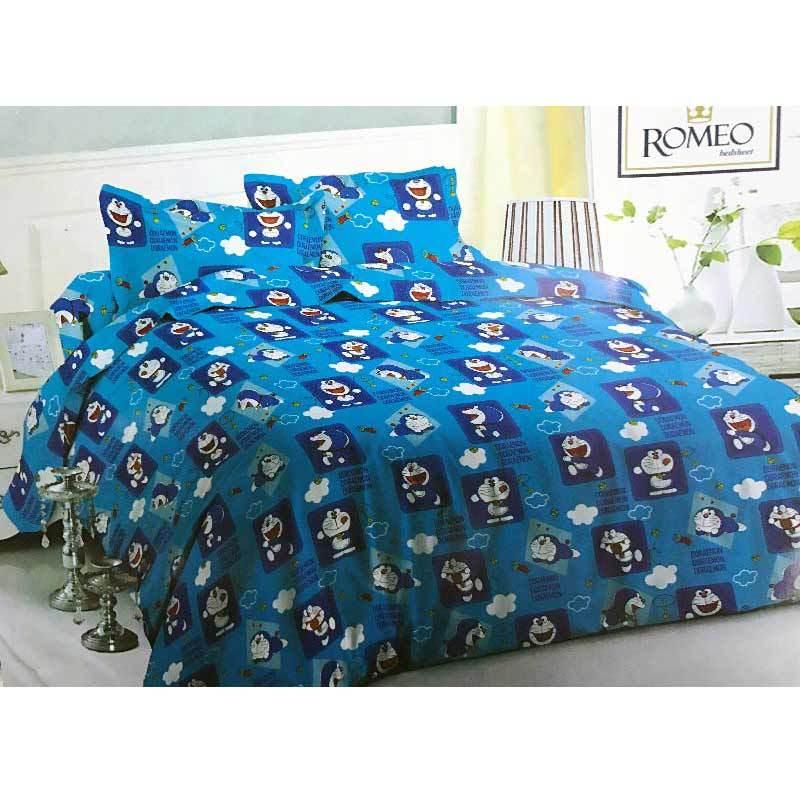 Best Furniture Romeo Doraemon Katun Import Set Sprei Anak - Biru [120 x 200 cm]