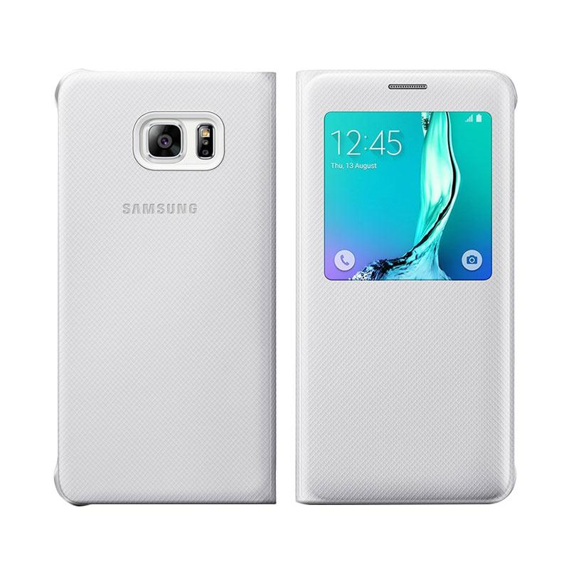 Galaxy Leather View Flip Cover Casing for Samsung Galaxy S6 - White