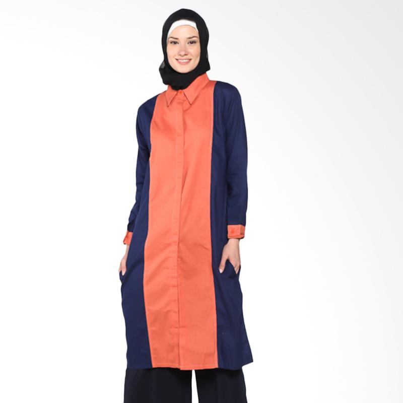 Chick Shop Tunic Plain Combination CO-70-01-OD Baju Moslem - Orange Navy