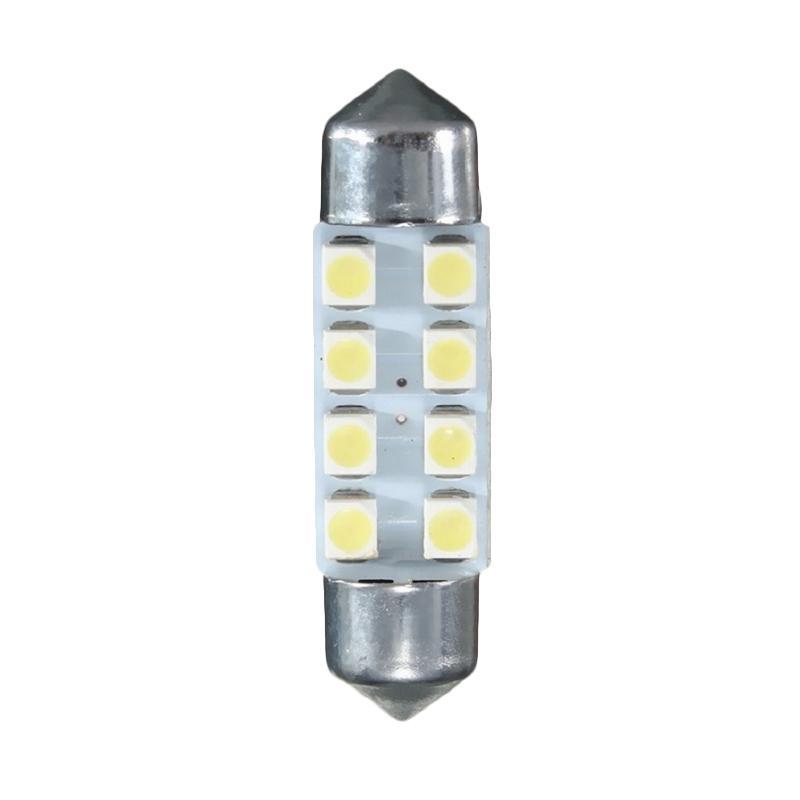 JMS 8 SMD 1210-3528 Bohlam Lampu LED Mobil Kabin Plafon Festoon - White [1 Pair/2 Pcs/36mm]
