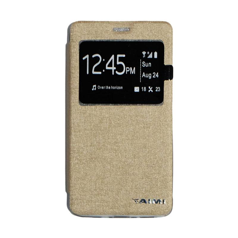 AIMI Flipshell Window Flip Cover Casing for Samsung Galaxy Note 4 - Gold