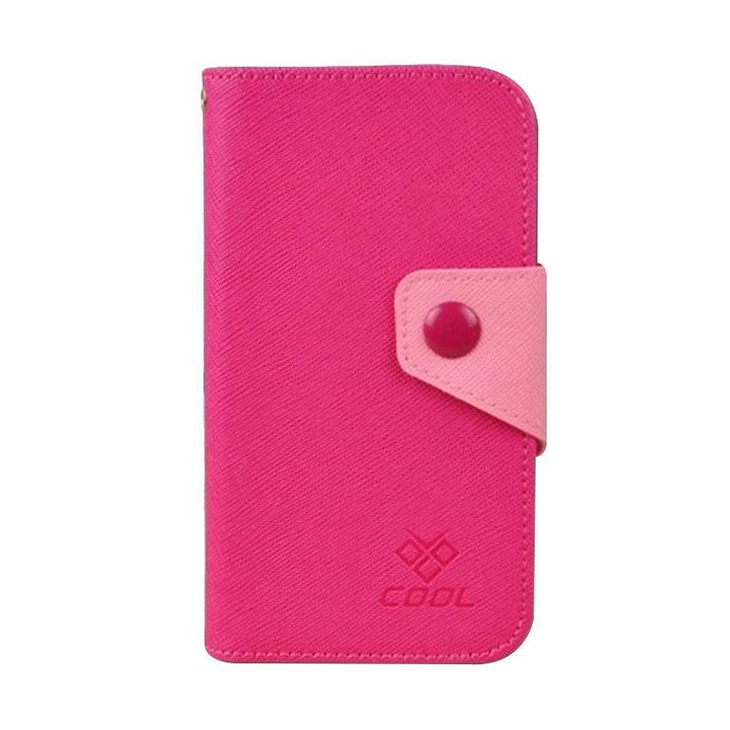 OEM Rainbow Flip Cover Casing for Samsung Galaxy S6 Edge Plus - Merah Muda