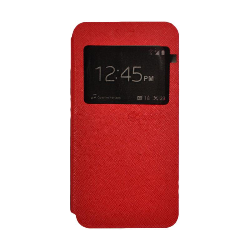 SMILE Standing Flip Cover Casing for Samsung Galaxy J1 Mini Prime - Red