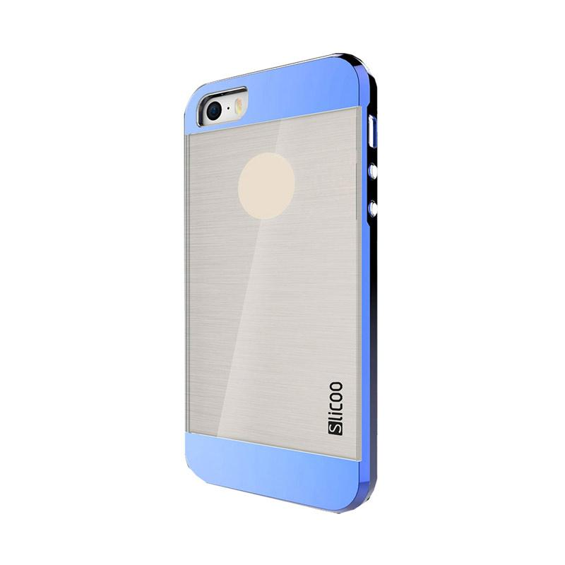 Slicoo Clear Back Side Cover Hardcase Casing for Apple Iphone 5 or 5S - Biru