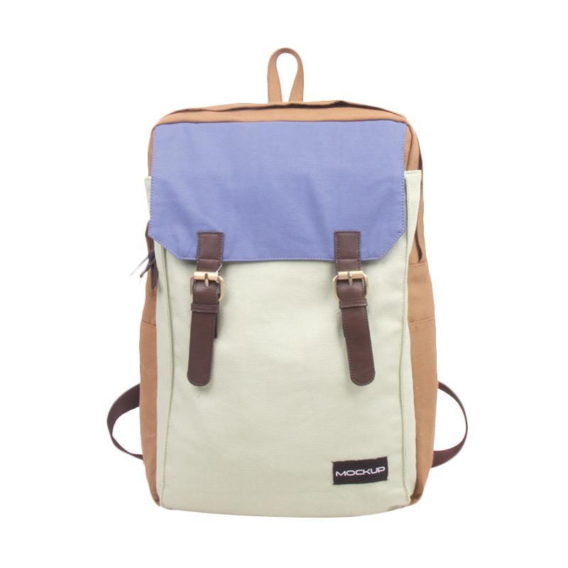 Mock Up BBP.49 Three Color Backpack - Khaki Mint Light Blue