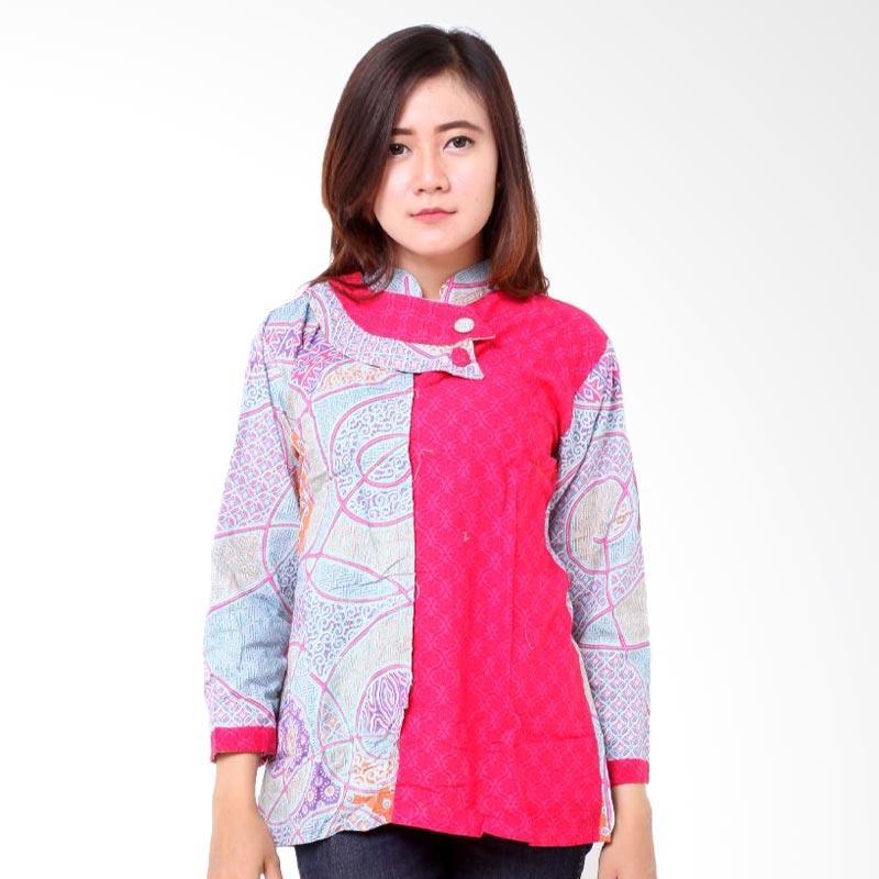 harga Batik Distro BA7964 Blus Wanita Embos Shanghai Atasan Wanita - Pink Blibli.com