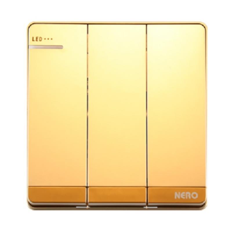 Jual Nero Decora Q71631D-G Saklar Listrik - Gold [3 Gang 1 Way Switch