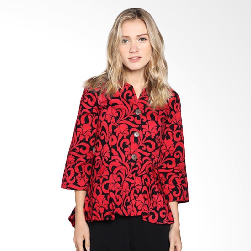 Batik Pria Tampan Wbl34-04081629c Women Dutch Flower Blouse - Red