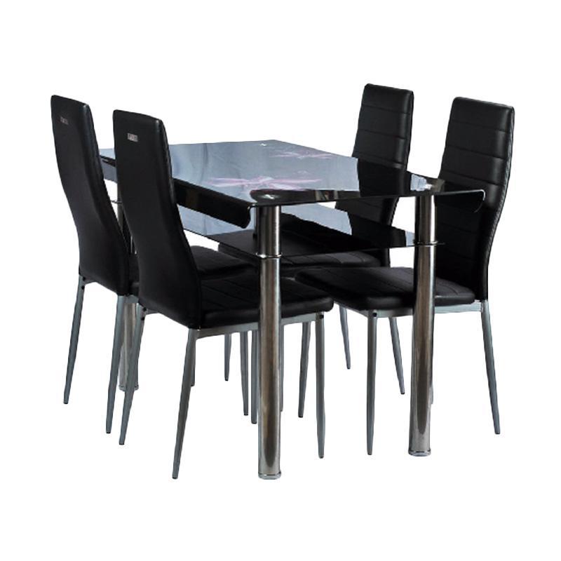 Best Furniture IMP-DSK10 Minimalis Set Meja Makan - Black [120 x 70 cm]