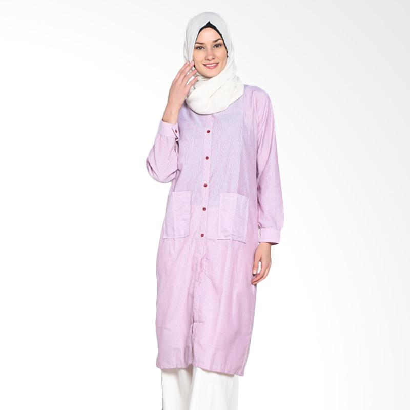 Chick Shop CO-34b-02-Pi Simple Stripes Long Shirt Tunic Moslem - Pink