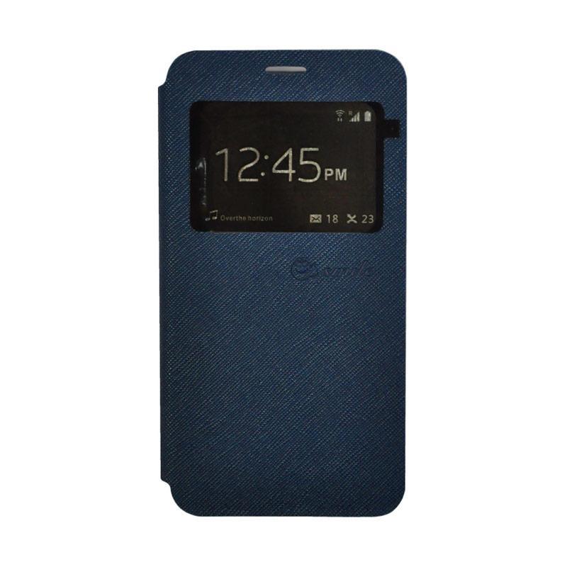 SMILE Leather Standing Flip Cover Casing for Vivo V5 Plus - Navy Blue