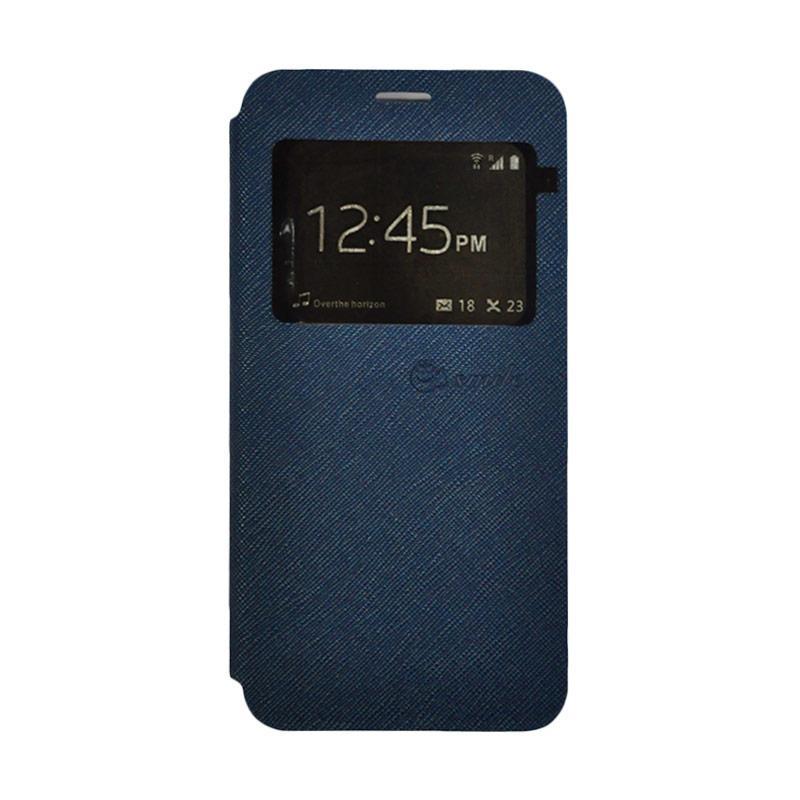 SMILE Standing Flip Cover Casing for Samsung Galaxy J7 Prime - Dark Blue